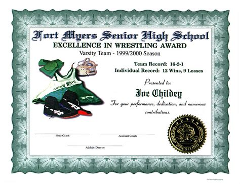 wrestling certificates full color customized