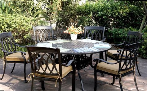 Patio Furniture San Marcos Ca Patio Furniture Dining Set Cast Aluminum 60 Quot Table 7pc San Marcos