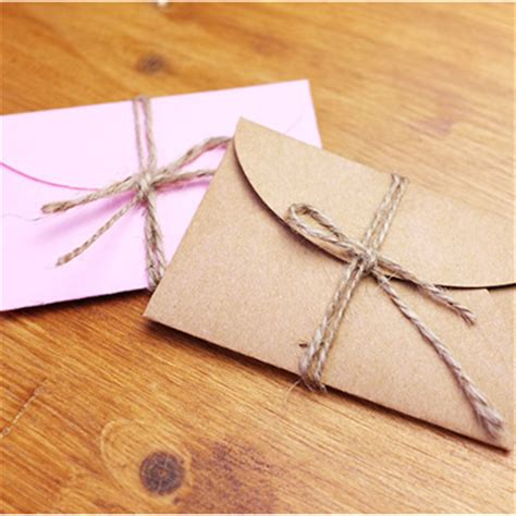 Craft Paper Envelope - 50pcs lot handmade mini craft paper envelope 9 5 8cm brown