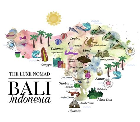 Guide To Bali luxe nomad illustrated bali map great overview of