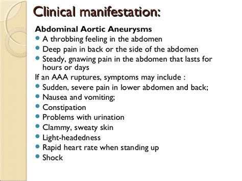 chest pain and light headed anuerysm