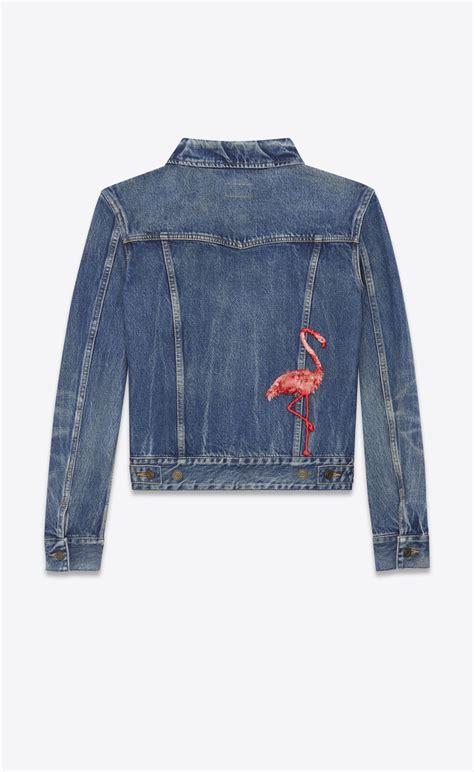 Bird Embro Denim Jacket laurent flamingo embroidered jean jacket in washed blue denim ysl