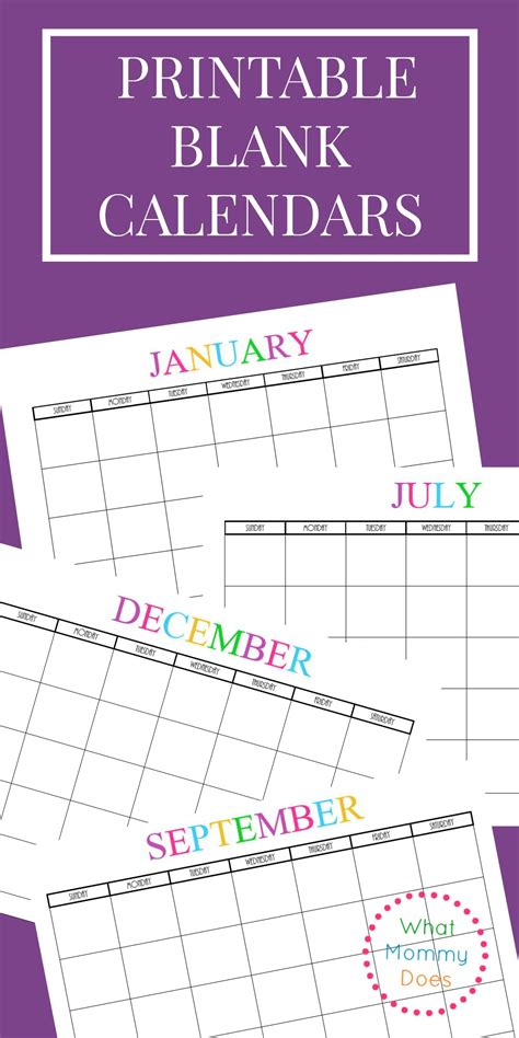 Free Printable Blank Monthly Calendars 2018 2019 2020 2021 What Mommy Does Monthly Calendar Template