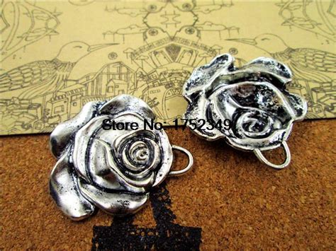 country style jewelry 5pcs charm antique tibetan silver flower