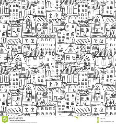 house pattern seamless hand drawn house pattern stock image image