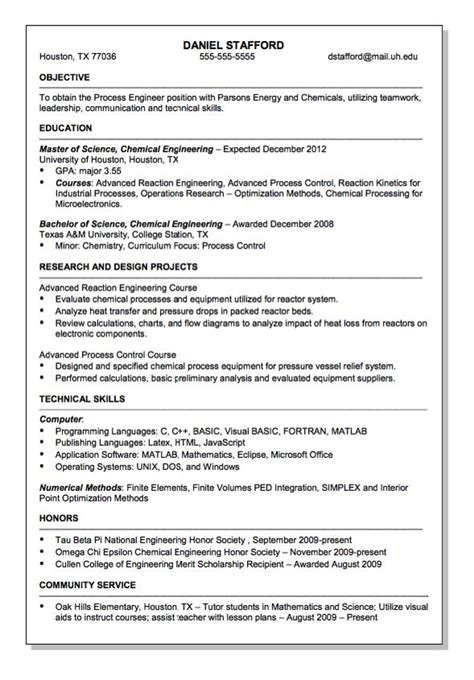 Resume Format For Chemical Engineer by Parsons Energy And Chemical Engineer Resume Sle Http Resumesdesign Parsons Energy And