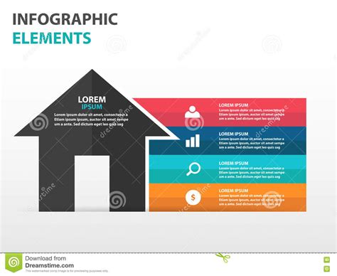 strategy house template abstract triangle business infographics elements