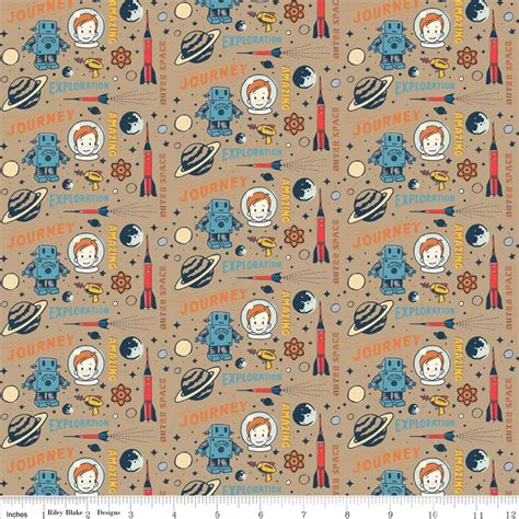 cotton flannel quilt fabric rocket age space rocket robots