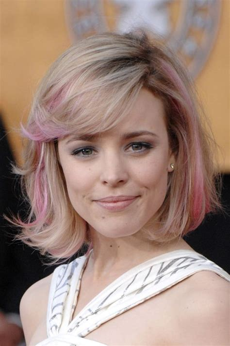 One Length Bob With Side Sweep | rachel mcadams one length bob hairstyle with natural