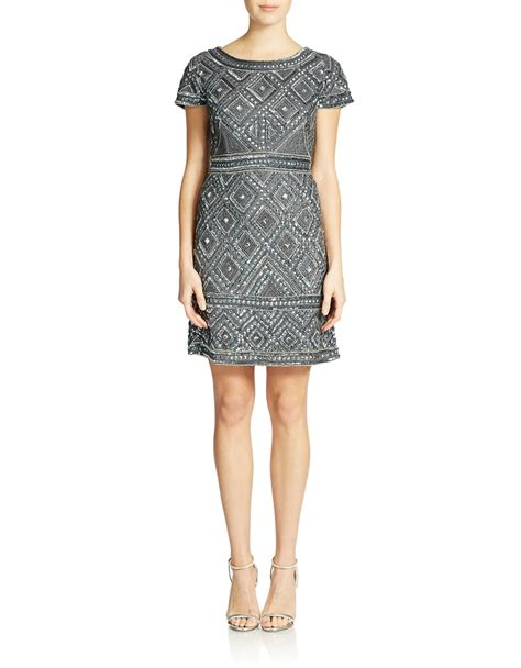 papell beaded shift dress in gray smoke lyst
