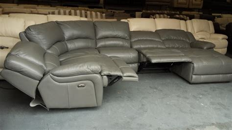 leather electric recliner chaise corner sofa ronson grey leather electric recliner corner sofa