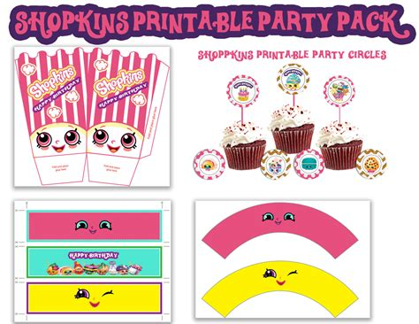 printable shopkins birthday decorations shopkins printable 5pc party pack instant by