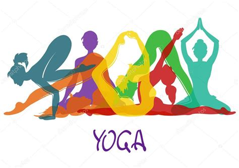 imagenes yoga animadas siete siluetas de ni 241 a en posturas de yoga vector de