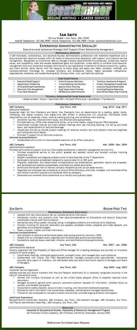 What Is A Resume Of A S Assistant resume exle executive assistant see more exles at