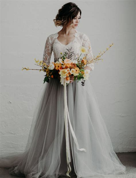 Wedding Skirt by Modern Moody Wedding Inspiration Featuring A Gray Tulle