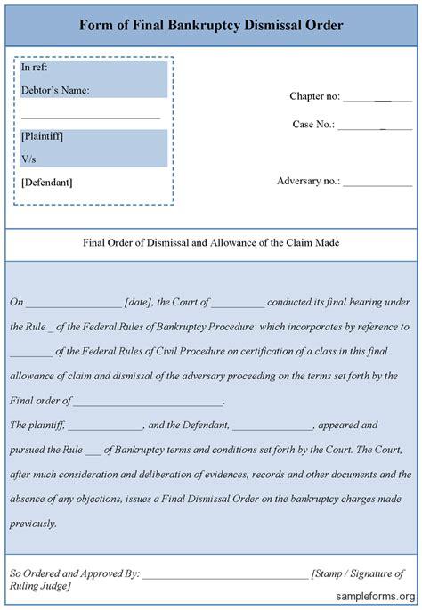 bankruptcy form bankruptcy dismissal form sle forms