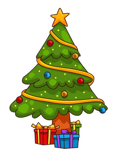 you can use this cute cartoon christmas tree clip art on