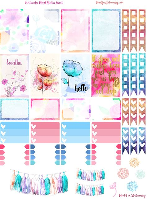 printable page flags for planner watercolor floral happy planner sticker sheet