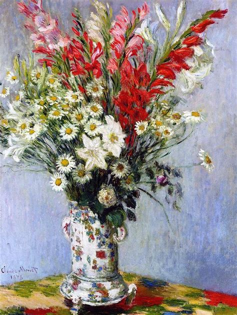 vase of flowers painting by claude monet