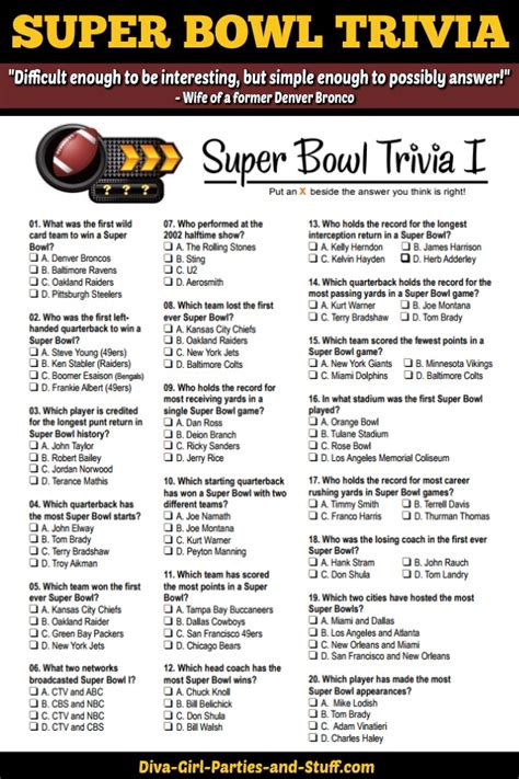 quiz bowl themes super bowl trivia multiple choice printable game updated
