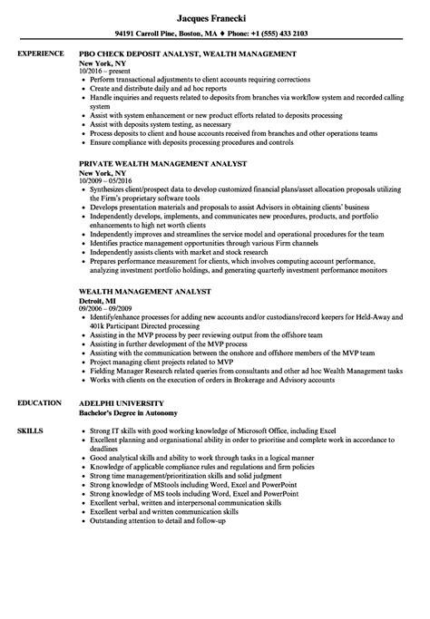 Management Analyst Resume by Wealth Management Analyst Resume Sles Velvet
