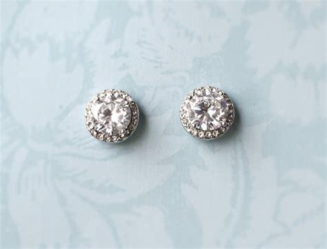 vintage style button earrings bridal stud earrings