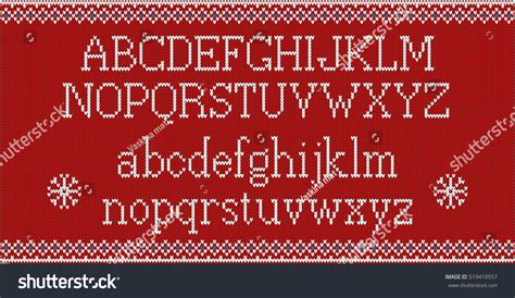 knitting pattern font christmas font knitted latin alphabet on stock vector