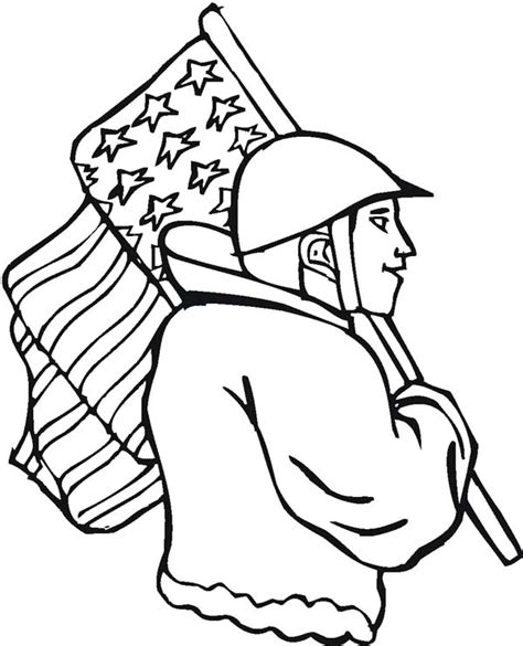 patriotic coloring pages veterans day a soldier with american flag on veterans day coloring page