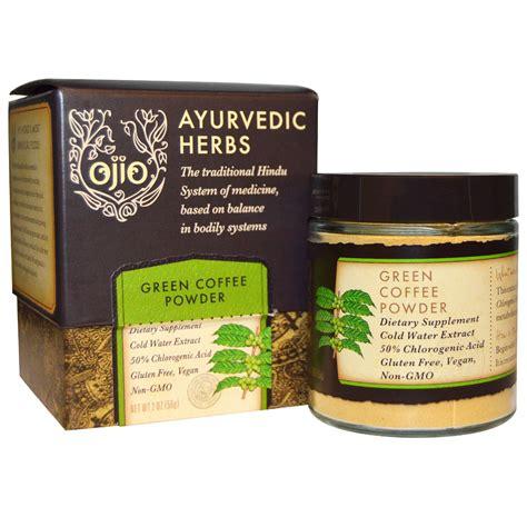 Coffee Powder ojio ayurvedic herbs green coffee powder 2 oz 56 g iherb