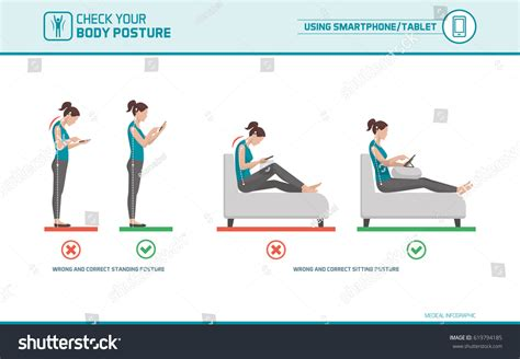how to use a standing smartphone tablet ergonomics how use mobile stock vector