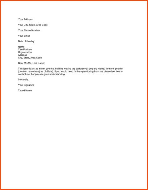draft resignation letter templates program format