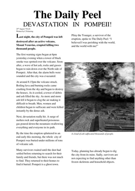 newspaper layout disasters mount vesuvius pompeii newspaper article by chris p 7