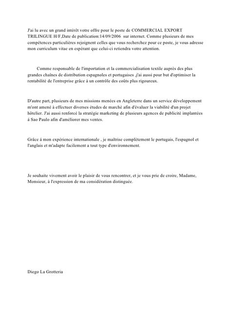 Conseil Lettre De Motivation Commercial Lettre De Motivation Commercial Export Trilingue