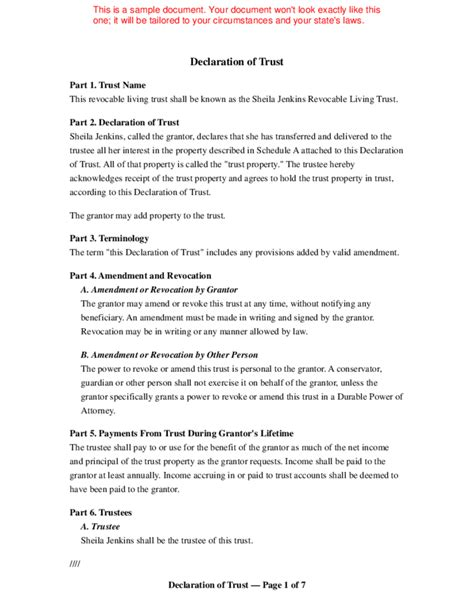 trust agreement template living trust template free