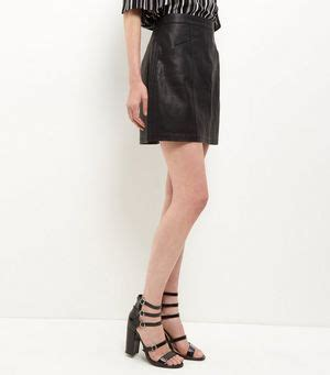 Seam Trim Shirt black leather look seam trim mini skirt