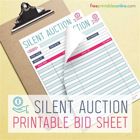 auction bid cards template silent auction bidding sheet free printables