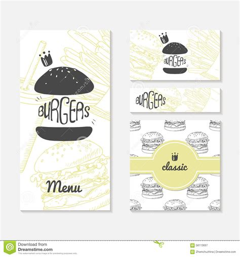 Template For Business Cards Foos by Set Of Cards With Sketched Burger Fast Food Branding