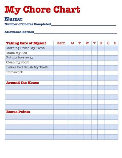 allowance chart template 17 best images about growing up is to do on