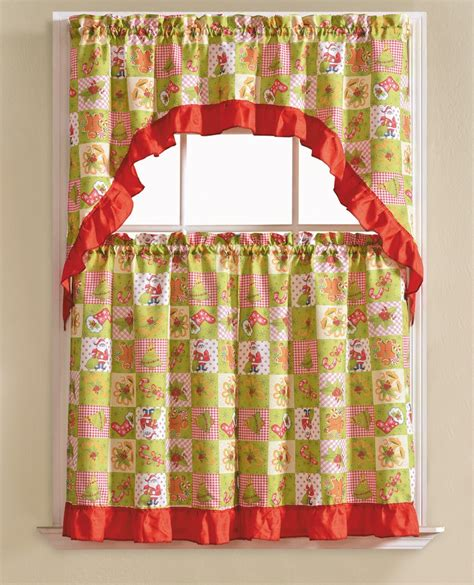 holiday curtains 3 piece holiday window curtain set