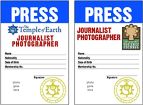 press pass templates the temple of earth ministers materials