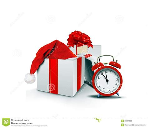 santa hat music box gift boxes with santa hat and clock stock photography image 35561602