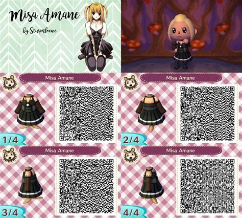 acnl emo death note misa amane dress for animal crossing acnl qr