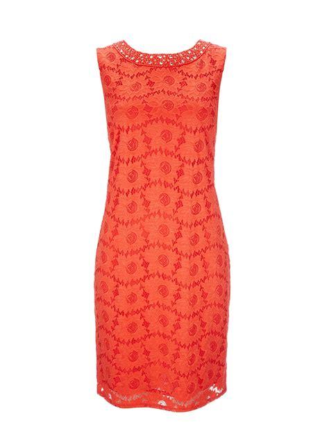 wallis orange lace embellished dress in orange lyst