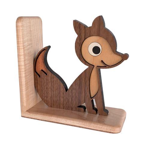fox woodworking wood fox bookend heirloom wooden bookend woodland animal