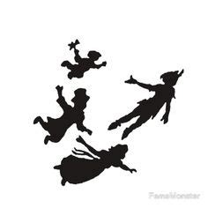 Peter Pan Wendy Michael And John Silhouettes Free Jpg Or Svg Files Disney Movie Nights Pan Silhouette Template