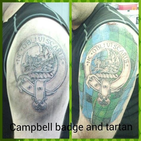 scottish clan tattoo designs cbell badge and tartan tattoos