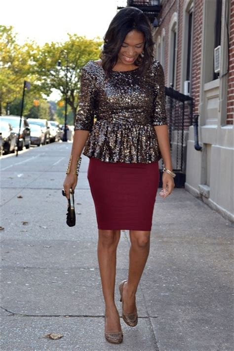 sequins peplum tops pencil skirt skirts weaved heels