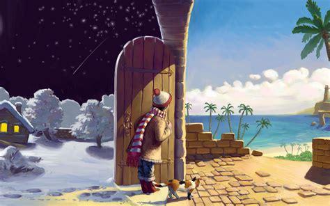 fantasy door snow  beach wallpaper digitalartio