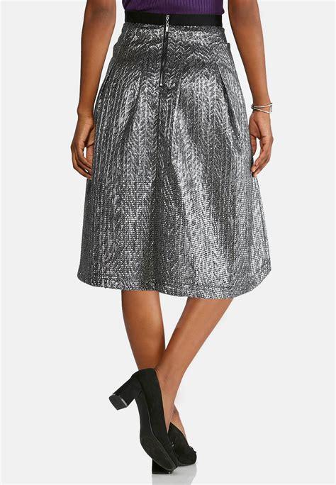 metallic a line skirt plus below the knee cato fashions