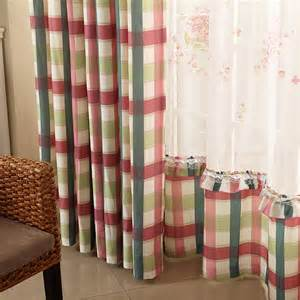 Plaid Curtains For Living Room Textile Korean Garden Goddess Plaid Curtains Living Room Bedroom Balcony Den Curtains